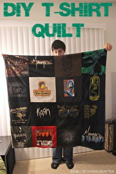 Cut the prints off t-shirts and sew them together to make a quilt for a keepsake. Great gift for guys!