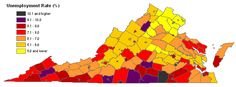 Unemployment rates in Virginia (Bureau of Labor Statistics)