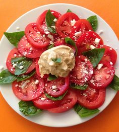 Tomato Flower Salad - Fresh ingredients are arranged to make a pretty flower picture.