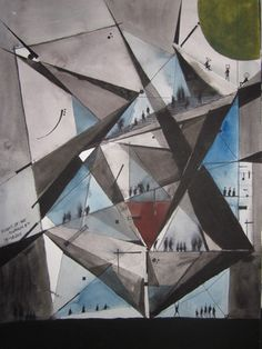 Donnacadh O Leighleis: ARCHITECTURE AUTOMATISM 13  flight of the swallows, 2011 Watercolor
