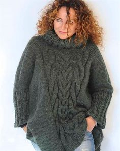 Oversize uld poncho strikkekit Clothing And Textile, Knitwear, Fashion Accessories, Cute Outfits, Turtle Neck, Pullover, Knitting, Unique, Clothes