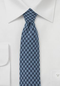 Krawatte Wolle mattblau dunkelblau