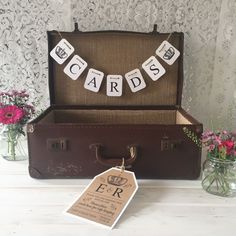 personalised WEDDING POST BOX vintage suitcase Tag Cards bunting Various colours