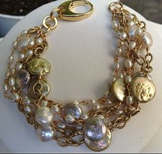 Bracelet with Multi Color Coin Pearls in various sizes with Gold Filled Chain.