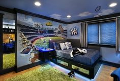 baseball bedroom ~ boys room ideas ~ try architects ~ so much to love! ~ love the lit floating nightstand, love the underlit bed, super cool mural and grass like rug too! ~ LED cove lighting