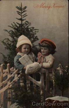 Merry Xmas - Children with Gifts and Tree