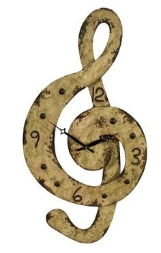 treble clef  clock - This is a treble clef. It is not the same thing as a music note. This is the direction it is supposed to go..........