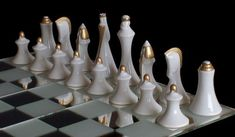 Modern Royal Dux Chess Set is a luxury porcelain chess set crafted in white, matte black, and matte gold. Available as chessmen or complete chess set. Glass Chess Set, Chess Sets, Modern Chess Set, Set Card Game, Card Games, Play Therapy Techniques, Chess Table, Auction Projects, Quilling 3d