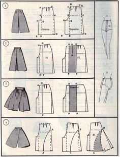 Transform Skirt To Culottes Pattern. Also Many Skirts With Pattern Drafts. Fashion Sewing, Diy Fashion, Ideias Fashion, Fashion Today, Dress Fashion, Diy Clothing, Clothing Patterns, Sewing Patterns, Sewing Pants