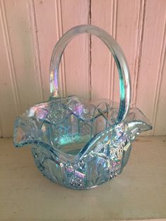 Vintage LE Smith Glass Iridescent Sky Blue Basket by FromTheVanity