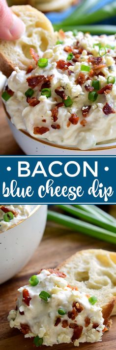 This Bacon Blue Cheese Dip is the ultimate easy party dip! Loaded with the delicious flavors of bacon and blue cheese, this dip is creamy, flavorful, and perfect for easy entertaining!