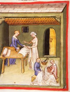 c. 1370-1400 Tacuinum Sanitatis (ONB Codex Vindobonensis, series nova 2644)  fol. 104v, abbigliamento di lino