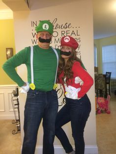 Homemade Mario and Luigi costumes.