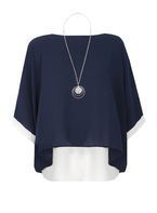 Womens *Quiz Navy Double Layer Necklace Top- Navy