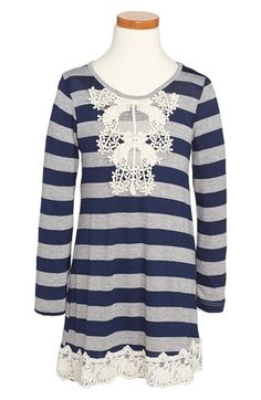 Free shipping and returns on Twirls & Twigs Stripe Knit Dress (Little Girls & Big Girls) at Nordstrom.com. A charming lace appliqué and hem add vintage appeal to a striped knit dress in a sweet, long-sleeve silhouette that's ideal for layering.