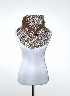 kuscheliger XL Schal Leopard braun creme von lucylique - Mode und Accessoires made in Leipzig auf DaWanda.com