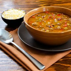 Spicy Slow Cooker soup with Ground Turkey, Pinto Beans, Red Bell Pepper, and Green Chiles from Kalyn's Kitchen.