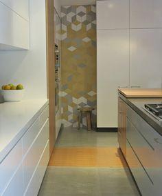 Great kitchen nook featuring Patricia Urquiola tiles from Urban Edge Ceramics.  www.cantileverinteriors.com