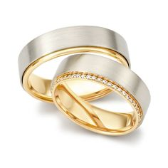 Trauring TRS selected Gelbgold 750 Weißgold 750 Mehrere Reihe (0,25 ct. tw/vsi)
