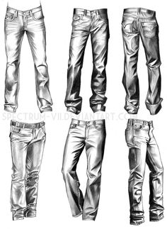 Fashion Drawing Clothing Study: Jeans by Spectrum-VII - Drawing Studies, Drawing Skills, Drawing Techniques, Drawing Sketches, Art Drawings, Pencil Sketching, Figure Drawings, Drawing Faces, Realistic Drawings
