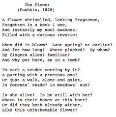 """The Flower"" --- Alexander Sergeyevich Pushkin Beautiful Poetry, Beautiful Words, Summer Poems, Russian Poets, Alexander Pushkin, Poetic Words, Philosophy Quotes, Poetic Justice, Poems"