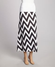 This Black & White Zigzag Maxi Skirt by Casalee is perfect! #zulilyfinds