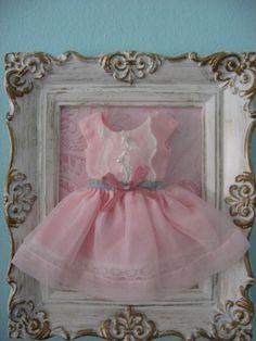 vintage frame with vintage doll dress by jmg9009 on Etsy, $12.00