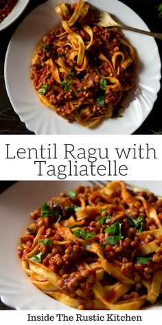An easy and delicious vegetarian ragu made with puy lentils, mushrooms, garlic and red wine and tossed with fresh tagliatelle pasta. A simple pasta dish the whole family will enjoy! Yummy Pasta Recipes, Easy Dinner Recipes, Vegetarian Recipes, Healthy Recipes, Vegetarian Italian, Noodle Recipes, Healthy Food, Vegetarian Vietnamese, Dinner Ideas