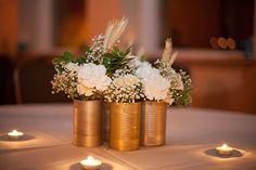 joy ever after :: details that make life loveable :: - Journal - an urban {rustic fall} wedding simpleweddingcenterpieces Tin Can Centerpieces, Inexpensive Wedding Centerpieces, Wedding Table Flowers, Rustic Wedding Centerpieces, Wedding Table Decorations, Fall Wedding Colors, Decoration Table, Copper Wedding, Bridal Shower