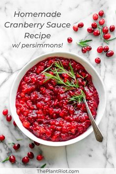 Homemade Cranberry Sauce Recipe Let's Share Some Homemade Cranberry Sauce Our Recipe Levels Up Classic Cranberry Sauce With Persimmon, Orange, Spices, And More Happy Holidays Jam Recipes, Real Food Recipes, Holiday Recipes, Vegetarian Recipes, Unique Recipes, Christmas Recipes, Healthy Recipes, Vegan Christmas Dinner, Vegan Thanksgiving