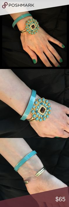 Stell & Dot Bracelet Cuff & Bangle Set Stell & Dot Bracelet Teal Turquoise Cuff and bangle   These two gorgeous pieces come as a set. The wrist cuff is from Stella & Dot.  Great preowned condition. So much wear left in each of these items Stella & Dot Jewelry Bracelets