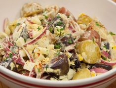 Try our collection of the best potato and pasta salad recipes, including classic macaroni salad, creamy potato salad and more from Cooking Channel. Grilling Recipes, Cooking Recipes, Healthy Recipes, Chefs, Picnic Side Dishes, Salsa Fresca, Classic Macaroni Salad, Creamy Potato Salad, Potato Pasta