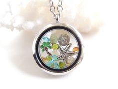 Beach Living Locket with Floating Charms by PNLJewelryDesigns