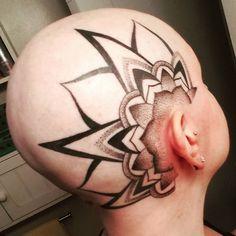 Photo by (lregan12) on Instagram |  #mandalatattoo, #dotworktattoo, #dotwork, #headtattoo, #scalptattoo, #tattoo, #blackwork, #stippling Head Tattoos, Tribal Tattoos, Scalp Tattoo, Dot Work Tattoo, Stippling, Mandala Tattoo, Blackwork, Instagram, Tatoo