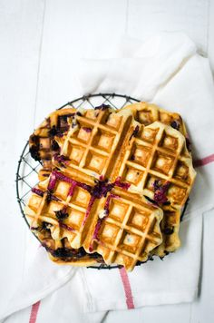 blueberry buttermilk waffles with whisky maple butter