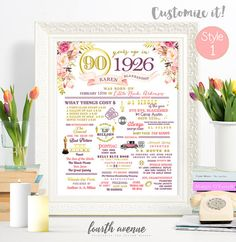 DIGITAL // 90th Birthday or 90th Anniversary Flower & Gold Sign Custom ANY COLOR Poster Wall Art // 1926 Events and Stats #1012015D