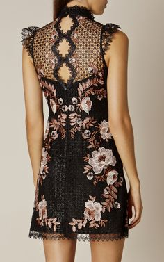 Karen Millen, LACE EMBROIDERED DRESS Black/Multi