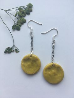 Excited to share this item from my #etsy shop: Polymer clay earrings with botanical print / Statement jewelry / Unique gift