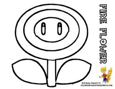 119 Super Mario Coloring Fire Flower At Pages Book For Kids Tattoo Design