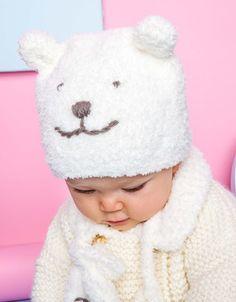 Modèle bonnet ours blanc Layette Crochet Beanie Hat, Crochet Baby Hats, Baby Knitting, Knit Crochet, Beanie Hats, Baby Vest, Baby Boy, Animal Hats, Knitted Animals