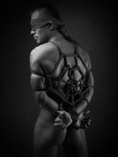 Spider naked Male Bondage