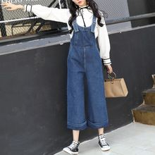 aed869dad42 2017 Autumn New Women Denim Jumpsuits Korean Fashion High Waist Slim Jeans  Overalls Blue Wide Leg Cuffed Jeans Pants - Tshirt and Jeans Store