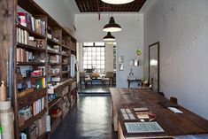 Bookcases, table, pendants