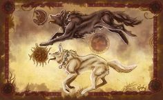 Skoll and Hati. In Norse mythology these two wolves are responsible for changing day to night and vice versa by chasing the sun and the moon through the sky. Both are children of Fenrir, and therefore, grandchildren of Loki. Mythological Creatures, Fantasy Creatures, Mythical Creatures, Arte Viking, Viking Age, World Mythology, Celtic Mythology, Pan Greek Mythology, Anime Wolf