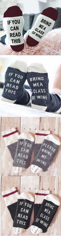 Funny Couple Socks Letter Print Stylish Wine Socks If You can read this Bring Me a Glass of Wine ,wine lover, wine gift, christmas gift, #clothing #socks #winesocks #funnysocks #ifyoucanreadthis #bringmewine #bringmewinesocks #textsocks #hilarioussocks