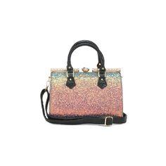 Multi Hued Iridescent Satchel ($40) ❤ liked on Polyvore featuring bags, handbags, leather satchel, glitter handbag, genuine leather handbags, genuine leather satchel handbags and leather purse