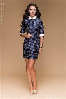 362f1577fe60 Темно-синее платье длины мини с принтом, белыми манжетами и воротничком —  интернет-магазин