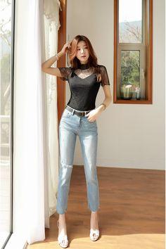 Korean Women`s Fashion Shopping Mall, Styleonme. Cute Asian Girls, Beautiful Asian Girls, Asian Fashion, Girl Fashion, Womens Fashion, Korean Beauty, Asian Beauty, Korean Women, Girls Jeans