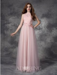 A-Line Bateau Sleeveless Hand-Made Flower Floor-Length Net Dress