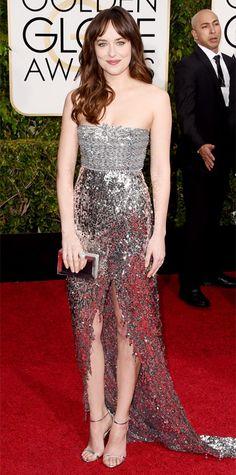 Golden Globes 2015: Red Carpet - Dakota Johnson. Get the Look: Statement Ring
